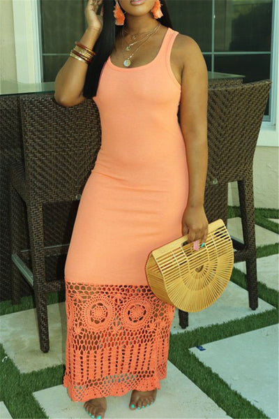 Solid Color Hollow Out Maxi Dress