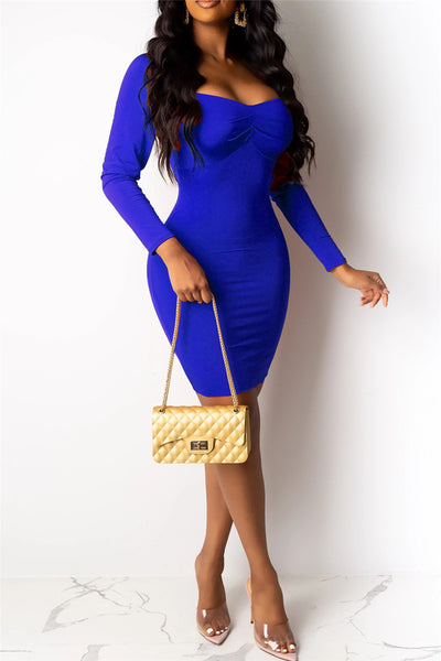 Solid Color Ruched Dress