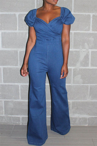 Solid Color Denim Jumpsuit