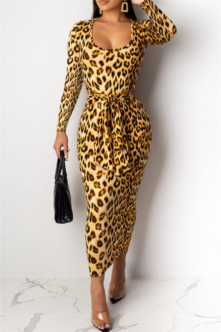 Leopard Printed Wrap Maxi Dress