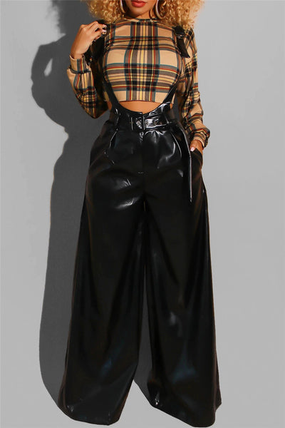 Solid Color PU Overall With Belt