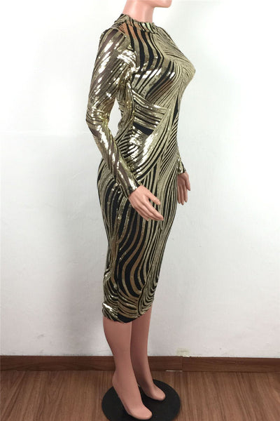 Sequins Splicing Split Midi Dress