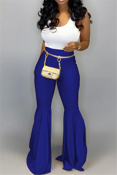Solid Color PU Flares Pants