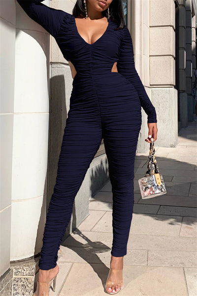 Ruched Hollow Out Jumpsuit