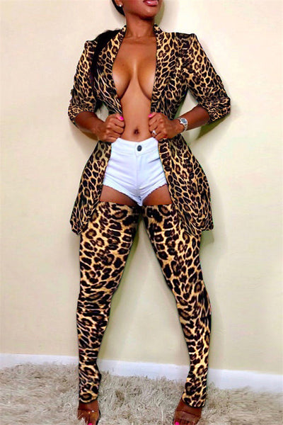 Plus Size Printed Blazer& Stockings Sets
