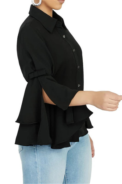 Solid Color Flounce Sleeve Shirt