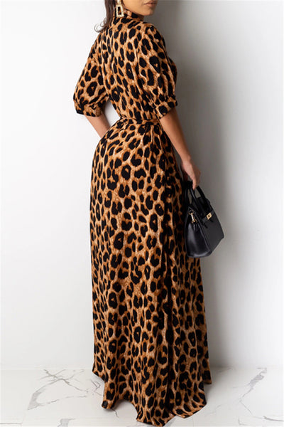 Leopard Printed Shirt Dress With Belt