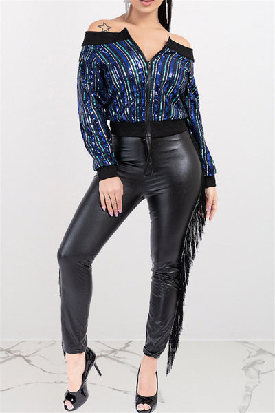 Sequin Splicing Zipper Jacket