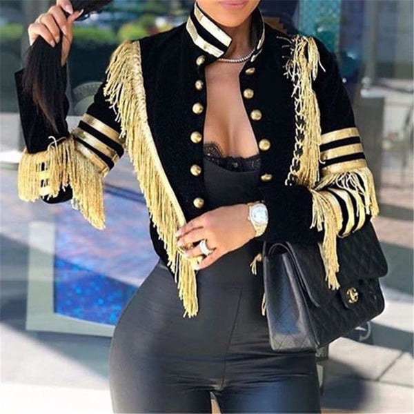 Plus Size Tassel Splicing Jacket