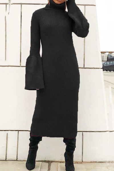 Trumpet Sleeve High Collar Dress