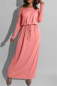 Solid Color Drawstring Maxi Dress
