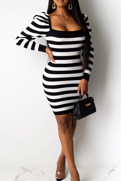Ruched Shoulder Stripe Printed Dress