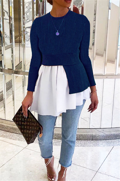 Color Splicing Pleated Sweater Top