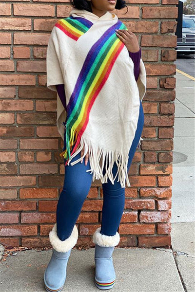 Rainbow Stripe Tassel Splicing Cloak