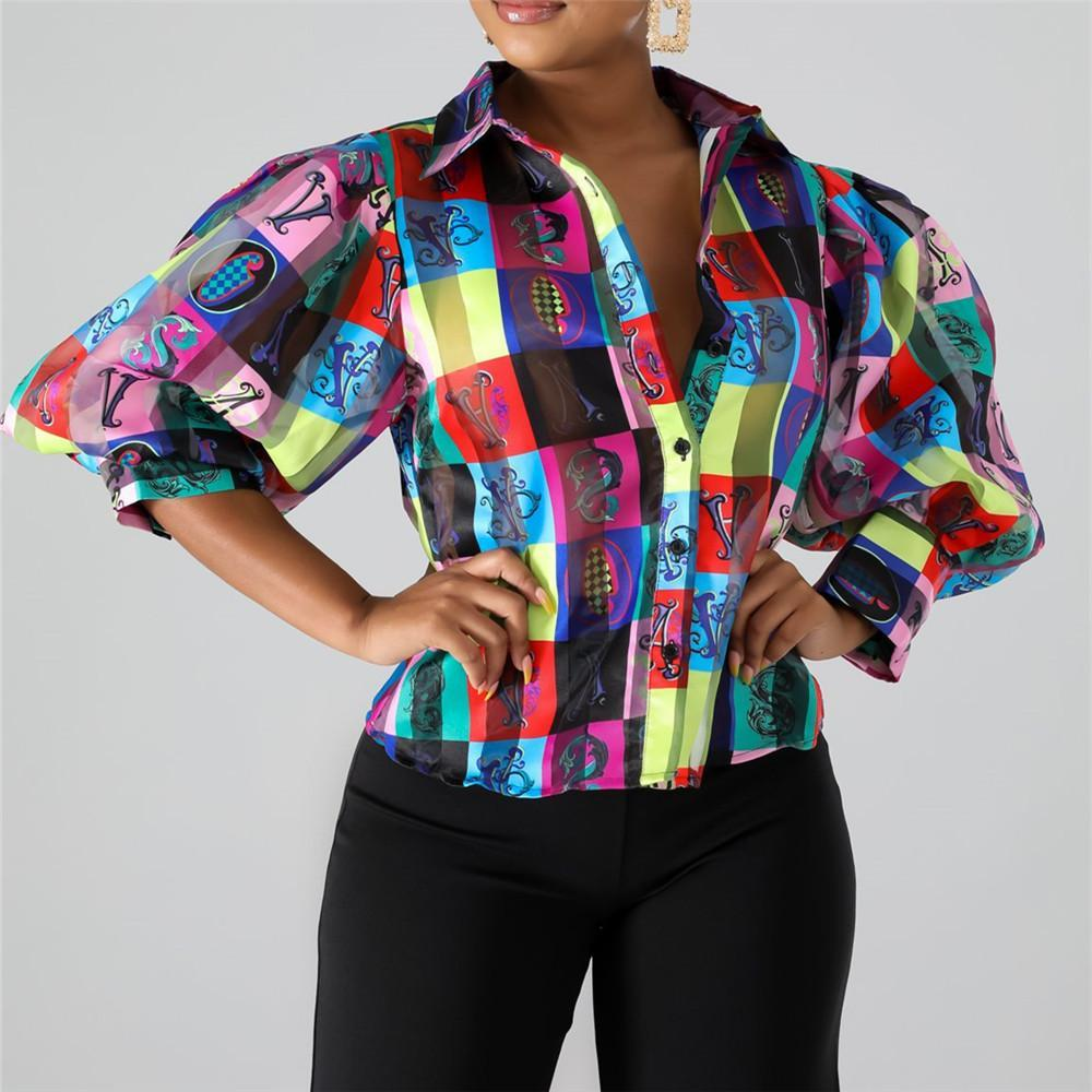 Casual Bubble Sleeve Printed Shirt