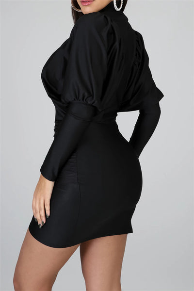 Solid Color Bat Sleeve Dress