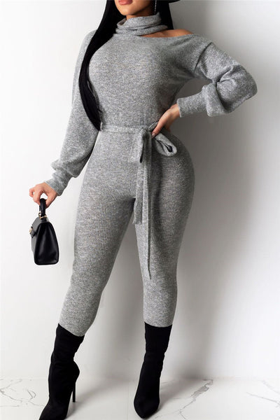 High Collar Open Shoulder Jumpsuit