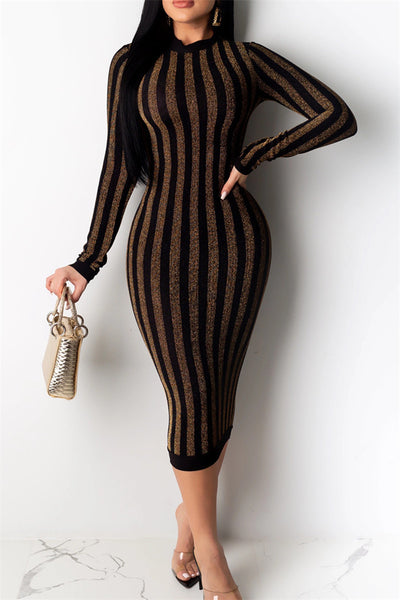 Shining Material Stripe Midi Dress