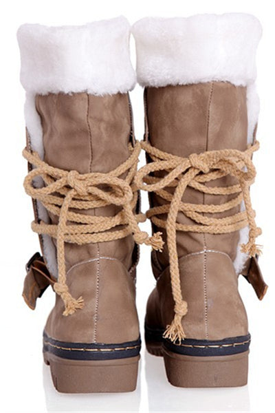 Fur Splicing Bandage Snow Boots