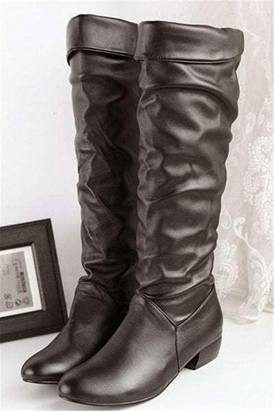 Solid Color Ruched Leather Boots