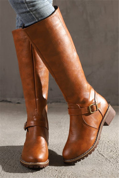 Solid Color Buckled High Boots