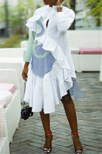 Irregular Hem Flounce Splicing Shirt Dress