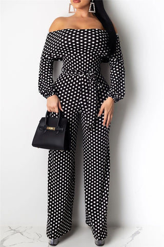 Off Shoulder Polka Dot Jumpsuit