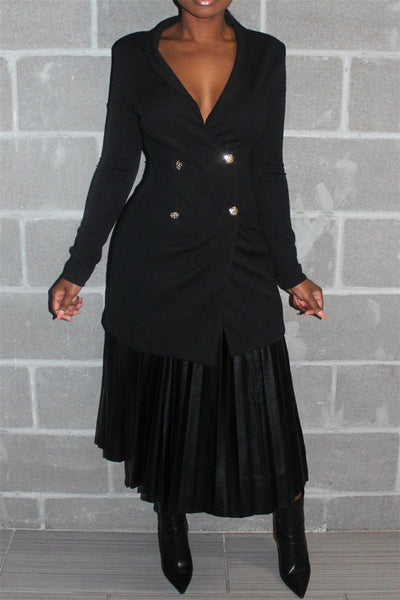 PU Pleated Skirt With Belt