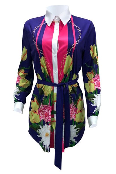 Flower Printed Shirt Dress With Belt