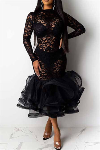 Lace Net Yarn Flounce Splicing Dress