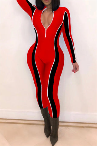 Color Splicing Bodycon Jumpsuit