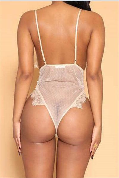 Lace Net Yarn Splicing Sheer Romper