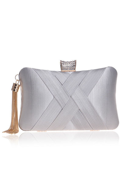 Rhinestone Silk Tassel Evening Clutch