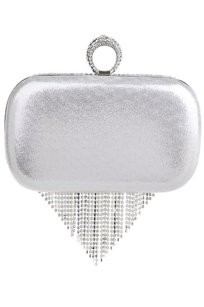 Rhinestone Tassel Splicing Clutch