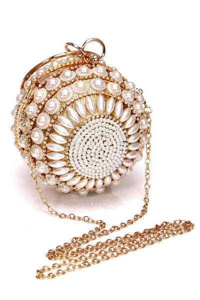 Pearl Studded Rhinestone Party Clutch