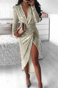 Shining Gold Wire Ruched Dress