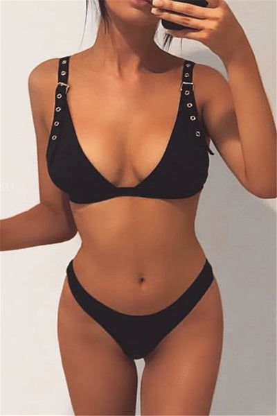 Solid Color Adjustable Swimwear Sets