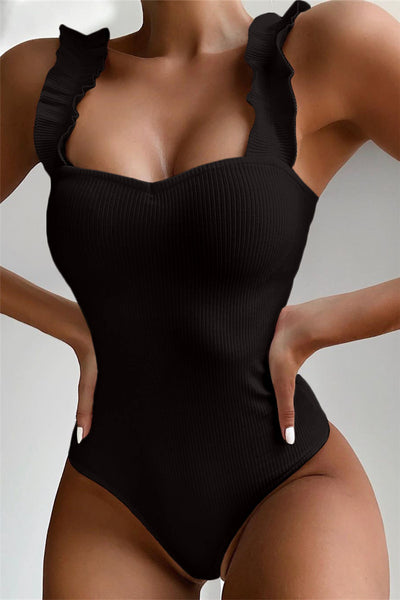 Ruffle Shoulder Strap Swimsuit