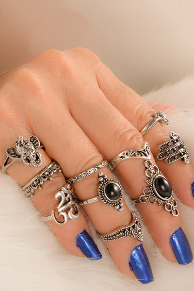 Trendy 10-piece Hollow Out Ring