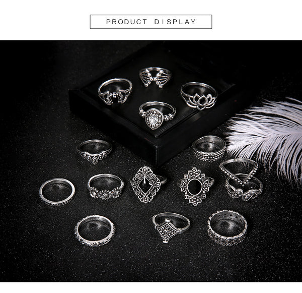 Trendy 15-piece Lotus Ring