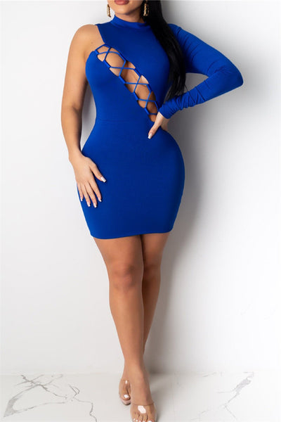 One Sleeve Hollow Out Dress