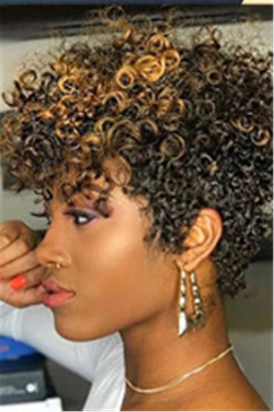 Short Small Curly Gold Wigs