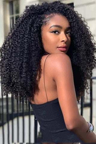 Long Small Curly Black Wigs