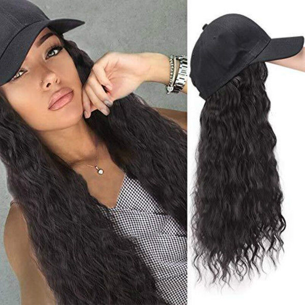 Long Curly Black Cap Wigs