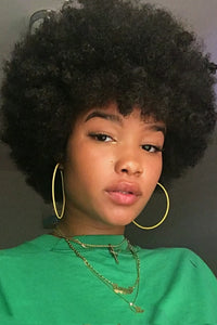 Short Curly Black Wigs