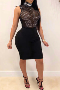 High Collar Rhinestone Party Dress