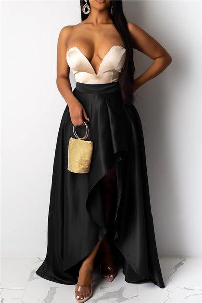 Solid Color Irregular Hem Skirt