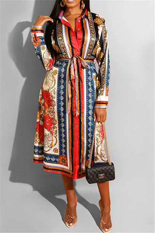 Casual Printed Shirt Dress With Belt