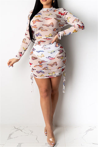 Butterfly Printed Drawstring Dress