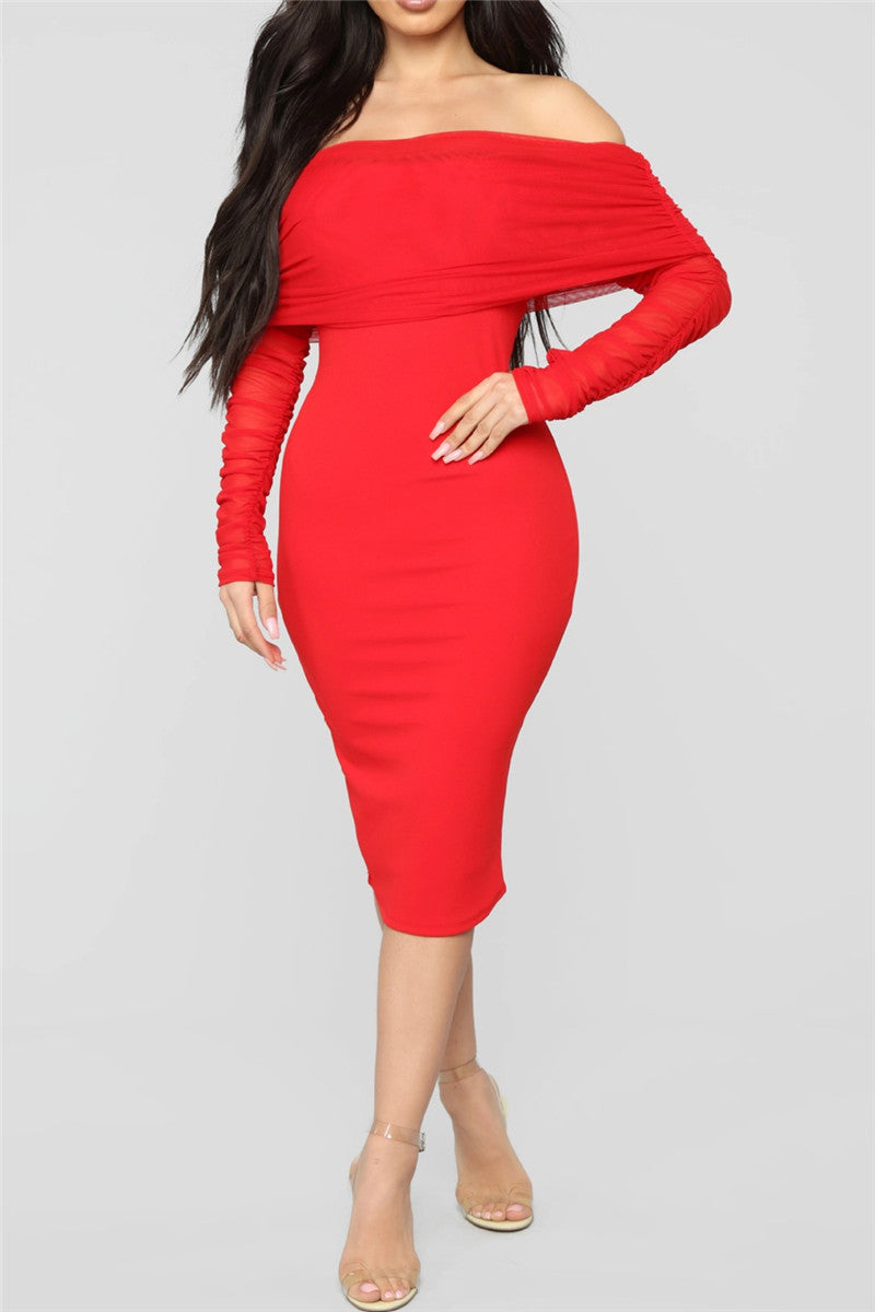 Solid Color Off Shoulder Ruched Dress